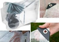 Heavy Duty Reinforced Mesh Clear Waterproof Tarpaulin Cover Mono Sheet Clear