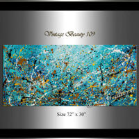 """Vintage Beauty 109 Painting 72"""" Jackson Pollock style, Large Abstract on canvas"""