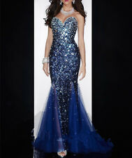 New Mermaid Crystal Long Prom Dress Sweetheart Formal Evening Pageant Party Gown