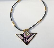 ✨ Authentic MICHAELA FREY WILLE Rubber Necklace geometric Pendant VINTAGE ✨