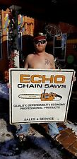 Vintage LG Metal Echo Chain Saw Dealer Outboard Gas Oil Sign Chainsaw 36X36