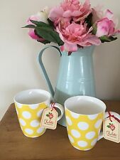 SET OF 2 CHARLOTTE YELLOW & WHITE POLKA DOT SPOT FINE CHINA MUGS DISHWASHER SAFE
