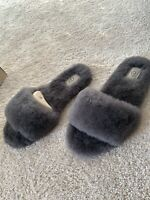 Grey Ugg Slide Fluff Slipper