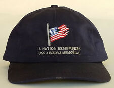 "USS Arizona Pearl Harbor Memorial Cap Hat Embroidered Flag ""A Nation Remembers"""