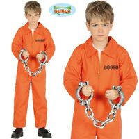 Childs Prisoner Fancy Dress Costume Kids Boys Convict Inmate Orange Outfit fg