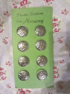 Vintage Pewter Sweater Buttons from Norway Viking 8 on Card NOS NEW NR