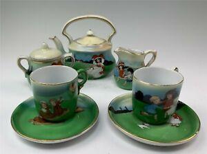 Vintage 5-Piece Child's Porcelain Tea Set Children at Play Decoration