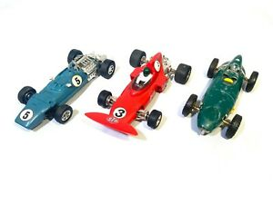 3 x Vintage Scalextric F1 Model Cars, 3 x Tri-ang slot cars, Triang Scalextric