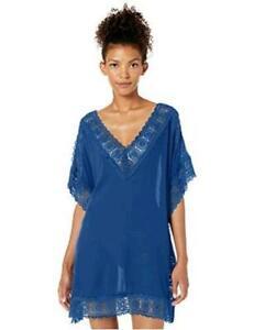 XS, Blue La Blanca Women/'s Realist Printed Tunic Swim Top Cover-Up