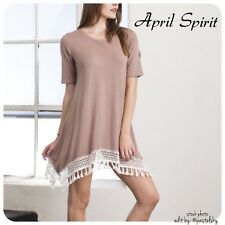 APRIL SPIRIT pom pom t-shirt dress Juniors Jrs Jr Large Lrg L NEW NWT