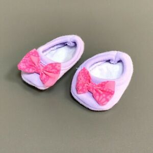 American Doll Bitty Baby Girl Purple CORDUROY Shoes Socks w/ Pink Bow Accessory
