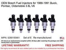 6 Fuel Injectors for 88-91 Buick, Pontiac, Oldsmobile 3.8L OEM Bosch #0280150901