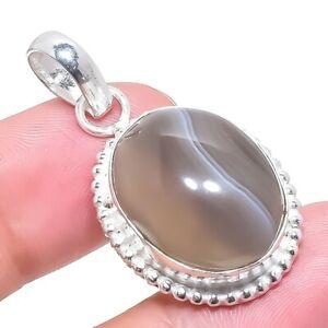 "Botswana Banded Agate Gemstone Handmade Silver Jewelry Pendant 1.7"" RP2628"