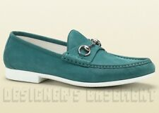 GUCCI mens 9.5* Teal Nubuck RAFER metal HORSEBIT rubber sole Loafers shoes NIB