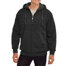 Climate Concepts Men's Print Fleece Sherpa Hoodie, Size M Color Charcoal black