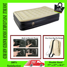 QUEEN INFLATABLE HIGH RAISED AIR BED MATTRES AIRBED W BUILT IN ELECTRIC PUMP NEW