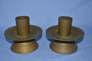 ANTIQUE VINTAGE LARGE PAIR OF SOLID BRASS CANDLE HOLDER