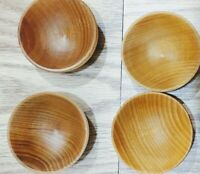 Wooden Condiment Cups Set Of Four Hardwood Bowls For Spices Sauces