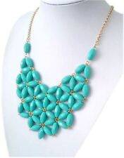 "NEW Turquoise Beaded Bib Resin Statement Necklace Women's 24"" Adjustable Dress"