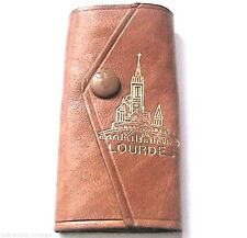 FRENCH 1940s WOMAN LEATHER KEYRING~LOURDES RELIGIOUS SOUVENIR~MADE IN FRANCE~NEW