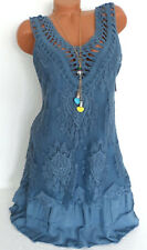 Italy Sommerkleid Häkelspitze Volant Lagenlook Sommer Tunika Kleid Blau 40 42