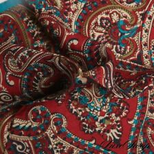 NWOT Made in Italy 100% Silk Teal Cranberry Red Sketch Paisley Pocket Square NR