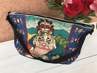 """Hand Bag,Book Bag,Tote Mexican Day Of The Dead Print, """"La Mexicana"""" Skeleton"""
