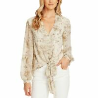 VINCE CAMUTO NEW Women's Floral-print Tie-hem Button Down Blouse Top M TEDO