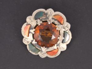 Vintage Cairngorm Citrine & Agate Brooch Sterling Silver Ladies 925 15.8g Kb14