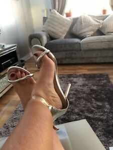 Womens Silver shoes By Kelsi Ladies Party stilettos high heels Size 6
