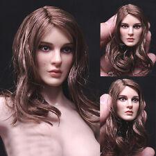 "1/6 Female Women Brown Long Hair Girl Head Sculpt F 12"" Phicen Body Figure Toy"