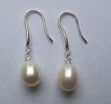 White Pearl freshwater hook in sterling silver Drop earrings