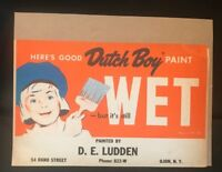 VTG Dutch Boy Wet Paint Advertising Cardboard Sign 1950s  - USA