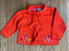 Kids Headquarters Cardigan Sweater 3T Orange Floral Embroidery