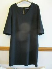 LADIES M&S COLLECTION BLACK TEXTURED SMART SHIFT DRESS SIZE 14