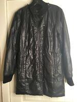Danier Womens Black Leather Blazer Zipper Jacket Coat Size 12