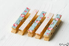 Set of 5 Cath Kidston Pink Blue Floral Fabric Wooden Fridge Magnet Pegs Handmade