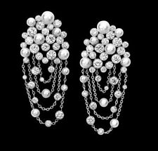 White Faux Pearl Bezel Earrings Chandeliers Fancy 925 Sterling Silver Chain