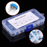 100pcs 10 value 500 ohm-1 Mohm Variable Resistors Potentiometer Kit + Box New zg