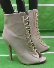 """NEW Womens Skintone 4.5""""Stiletto High Heel Lace Up Sexy Ankle Boots Size 8"""