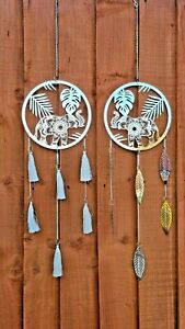 Wind Chime Spinner Dream Catcher Elephant Tassel Grey Garden Metal Dreamcatcher