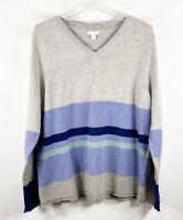 J. Jill Women L Sweater Striped V Neck Long Sleeve Gray Blue Soft Cotton Knit