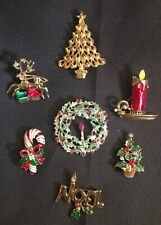 Lot 7 Christmas Pins Christmas Tree Deer Wreath Noel Candle Candy Cane