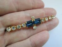 Vintage Sapphire & Clear Glass Gold Tone Bar Edwardian Style Retro Brooch Pin