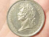 1821 George IV Coronation Commemorative White Metal Medal #Q33