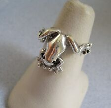 Mexican 925 Silver Taxco Oxidized Good Luck Prince Cute FROG TOAD Ring Size 8.75