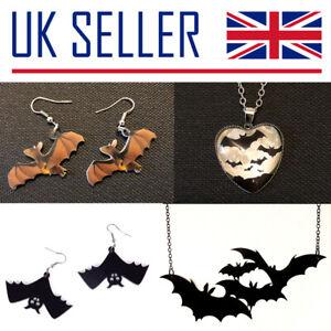 NEW Bat Lovers Jewellery - Gift, Earrings, Necklace, Halloween, Black, Metal, UK