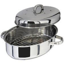 Judge Oval Thermic Base Stainless Steel Roasting Pan Dish Tin With Rack & Lid