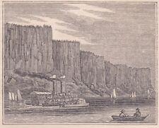 original 1844 wood engraving, John W. Barber: PALISADES, Hudson River