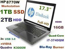 """17.3"""" Workstation HP 8770W i7-QUAD Blu-Ray Burner 1TB SSD + 2TB HDD 16GB K3000M"""